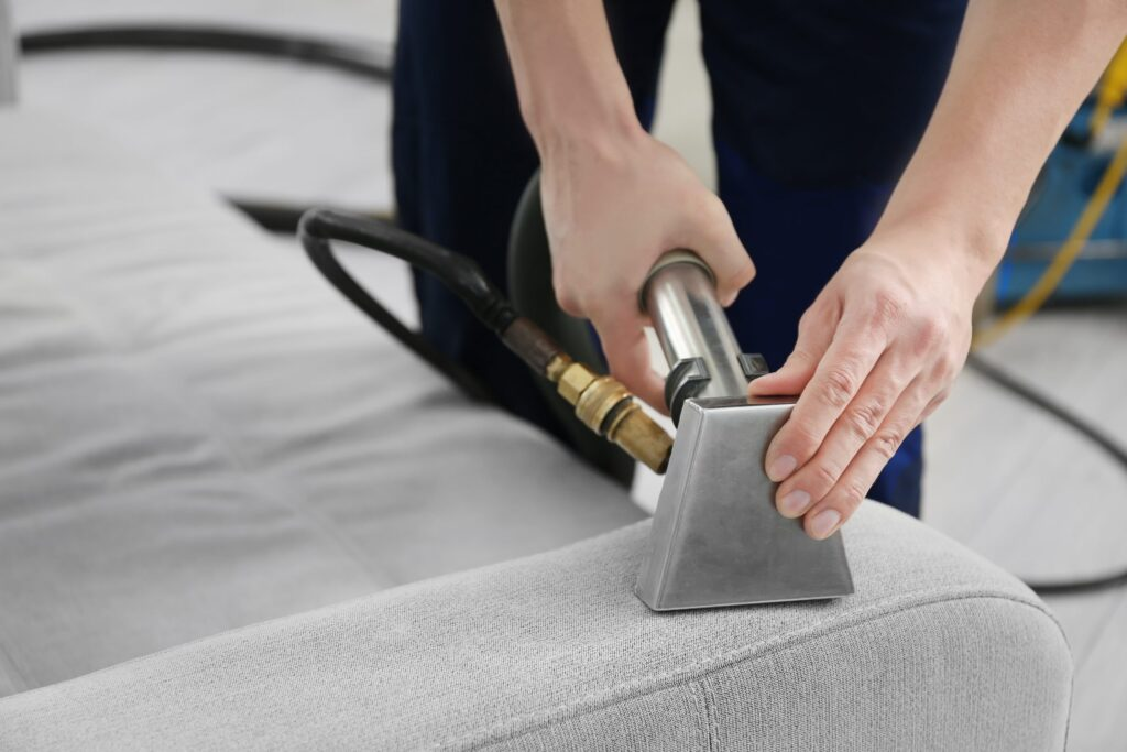 cleaning sofa cushion with steam cleaner